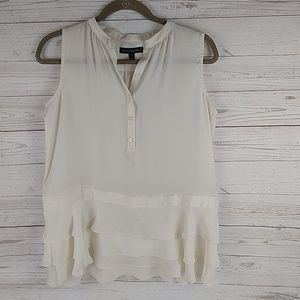 Banana Republic sleeveless ruffle blouse S petite